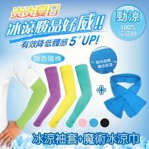 S LINE BODY無縫氣網冰涼袖套(不挑色) + 魔術冰涼巾 18*84CM
